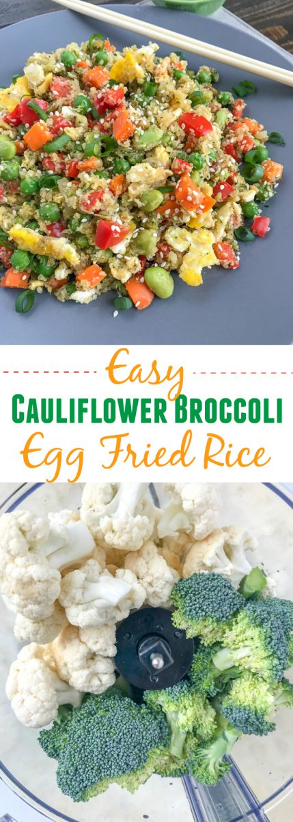 Easy Cauliflower Broccoli Egg Fried Rice - a restaurant-style inspired recipe, but on the healthy side! Made with cauliflower and broccoli inreplacement of rice. Only 233 calories per serving! Very easy to make, minimal ingredients, and can be on your table in 15-minutes. Fulfill that comfort food lover in you, but without the guilt! #healthy #cauliflower #cauliflowerrice #friedrice #chinese | www.withpeanutbutterontop.com