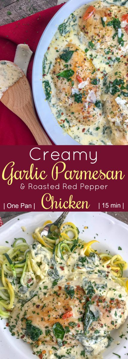 Creamy Garlic Parmesan and Roasted RedPepper Chicken- a one-pan, easy-to-make comforting recipe that will give you all the warm fuzzy, content feelings. The chicken is pan-seared and combined in a delicious, creamy sauce combining all the perfect flavors of parmesan cheese, spinach, roasted red peppers, and garlic. #dinner #chicken #onepanmeals   https://withpeanutbutterontop.com
