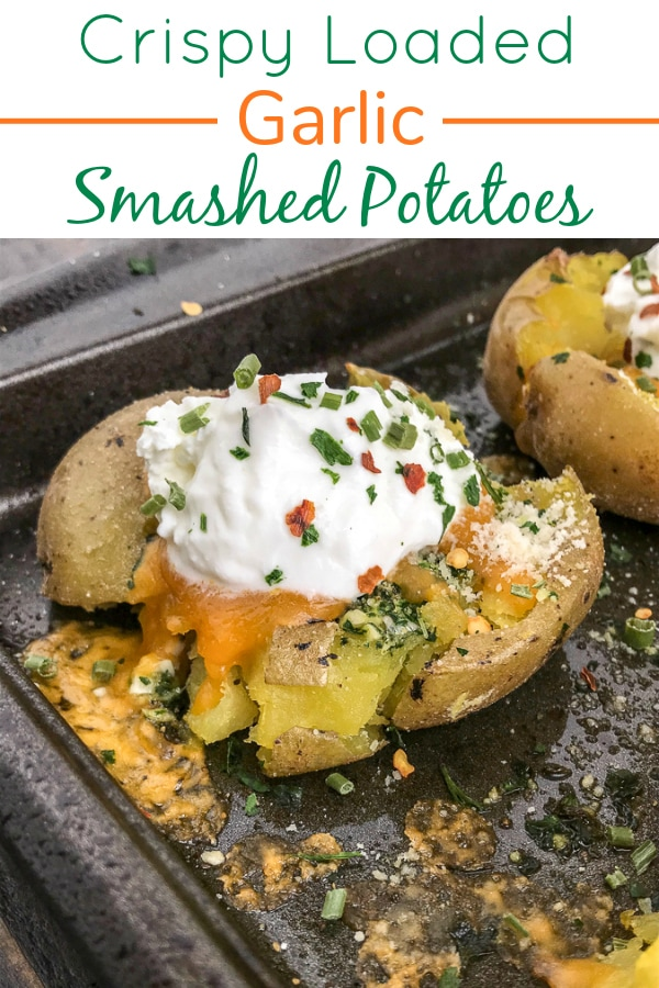 Crispy Loaded Garlic Smashed Potatoes - potatoes baked with garlic, parsley, onion powder, parmesan cheese and butter. Better than the traditional baked potato, easy to make, and truly the best way to serve potatoes if they are not in fry form! #potatoes #easy #sidedish #dinner | https://withpeanutbutterontop.com