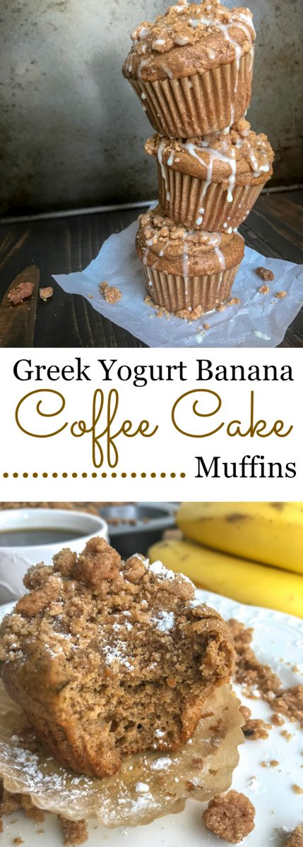 Greek Yogurt Banana Coffee Cake Muffins - the classic coffee cake that we all love transformed into muffin form - made a bit on the healthier side with greek yogurt and banana! Loaded with the perfect amount of cinnamon streusel crumb topping that offers the perfect texture contrast to the light and fluffy base. #muffins #coffeecake #breakfast #dessert | https://withpeanutbutterontop.com