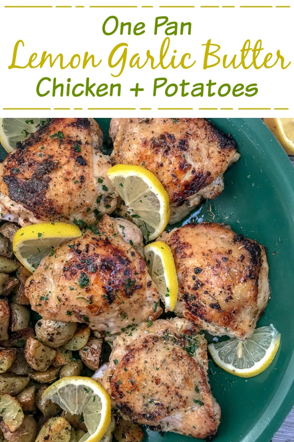 One Pan Lemon Garlic ButterChicken and Potatoes - this dish is not only incredibly easy to make, but it is also bursting with zingy lemon garlic flavor! Chicken that is crispy on the outside, yet tender and juicy on the inside. Cooked in one pan, making for easy cookingand clean up. #onepanmeals #onepan #chicken | https://withpeanutbutterontop.com