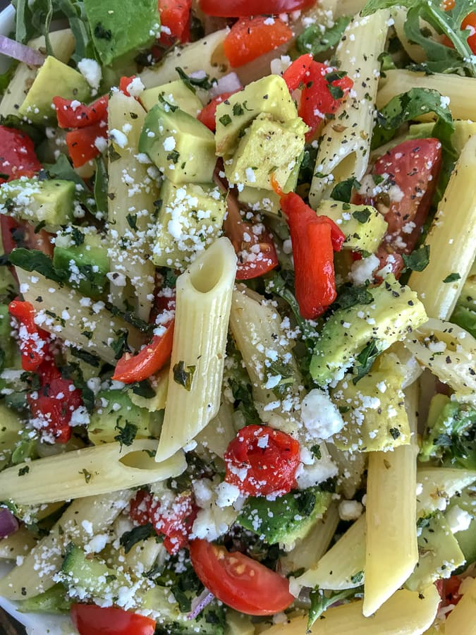Lemon Garlic and Feta Pasta Salad - an easy, refreshing and healthy pasta salad packed full of flavor. #pastasalad #lemon #healthy #salad | https://withpeanutbutterontop.com