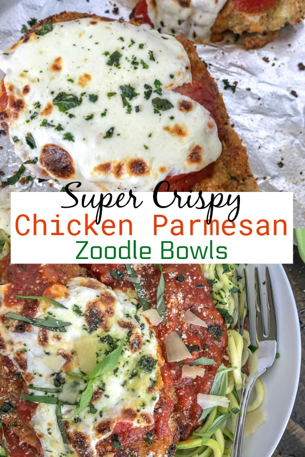 Crispy Baked Chicken Parmesan Zucchini Bowls - incredibly delicious chicken that is super tender on the inside, yet crispy on the outside. Served over cooked zucchini noodles to make for a lower-carb, light and healthy meal. #chickenparmesan #zoodles #healthy #lowcarb | https://withpeanutbutterontop.com