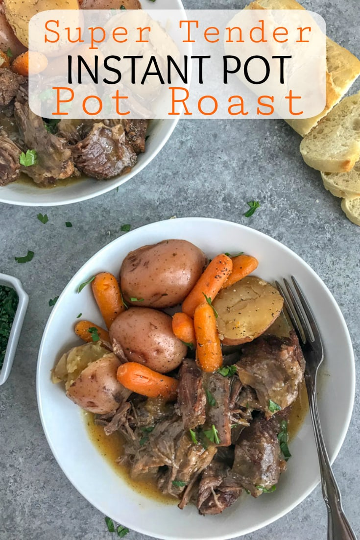 Super Tender Instant Pot Pot Roast - a classic family favorite made super simple and quick using the Instant Pot! Pot roast so tender the meat simply falls apart. #instantpot #potroast #dinner #simple | https://withpeanutbutterontop.com