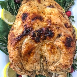 Easy and Tender Instant Pot Turkey Breast - a tender, moist and flavorful turkey (with gravy) in under an hour! No more early mornings or times spent basting a turkey every 20-30 minutes or less. Try this Instant Pot version with your family and friends this holiday season! #instantpot #instantpotturkey #turkey #friendsgiving #thanksgivingrecipes | https://withpeanutbutterontop.com