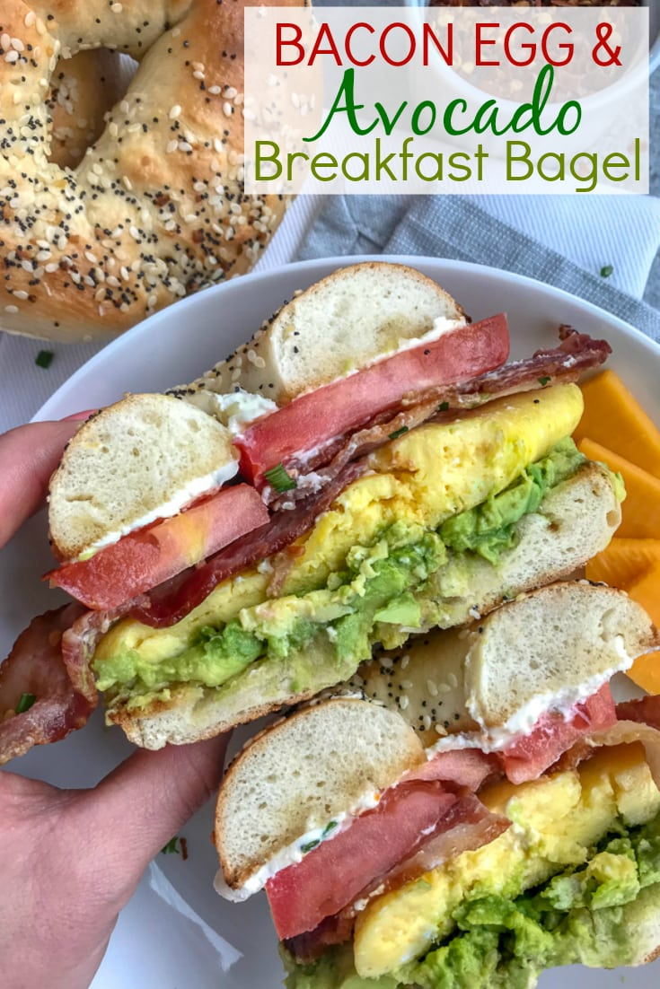 Bacon Egg and Avocado Breakfast Bagel - an easy, filling and flavorful breakfast! Made with fluffy, scrambled eggs, sliced tomato, bacon, cream cheese, and a delicious garlic avocado mash - all sandwiched between an everything bagel. Breakfast has been perfected! #breakfast #bagel #breakfastbagel | https://withpeanutbutterontop.com