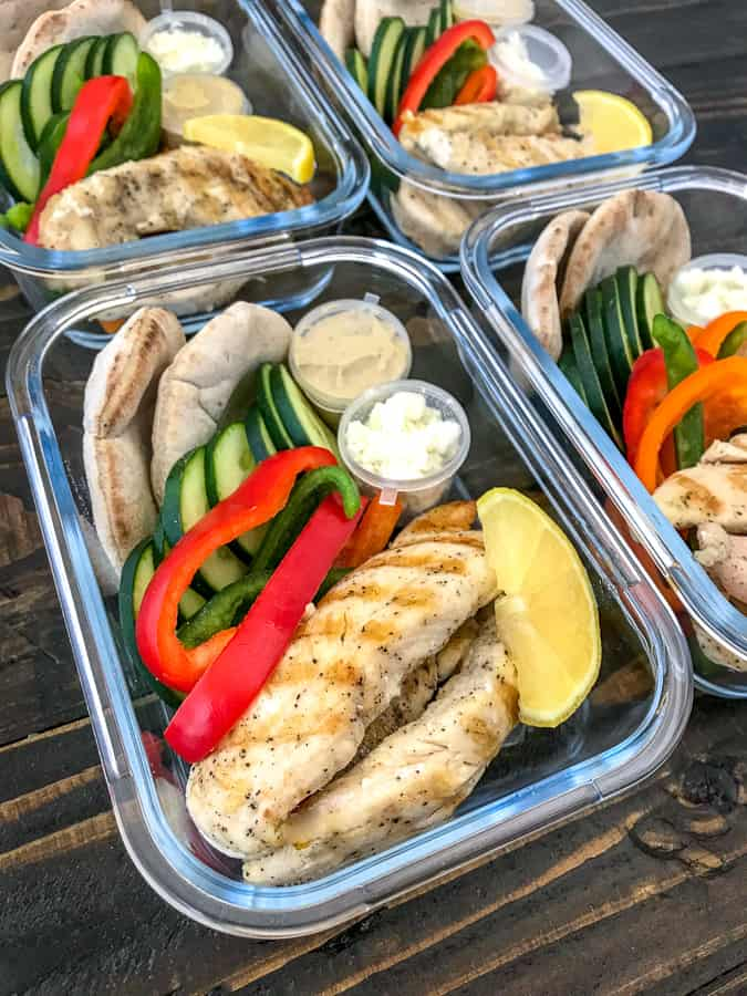 Grilled Chicken and Hummus Meal Prep - a great hot or cold meal prep option that comes together quickly and effortlessly! A healthy lunch or post-workout meal option! Great for school lunches, too! #lunch #mealprep #healthy   https://withpeanutbutterontop.com