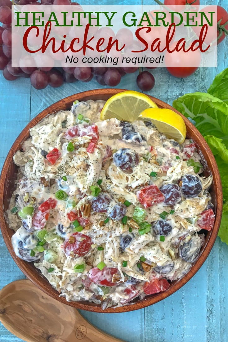 Healthy Garden Chicken Salad - an easy and quick lunch or meal prep option that comes together effortlessly! Loaded with vegetables and flavor! A great low-carb, high-protein meal option. #mealprep #lunch #healthychickensalad #chickensalad | https://withpeanutbutterontop.com