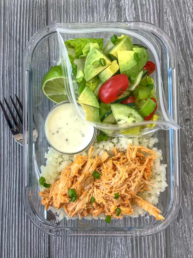 Instant Pot Buffalo Chicken Meal Prep - add this super simple and fast 10-minute buffalo chicken recipe to your weekly meal prep! Low-carb, packed with veggies, and absolutely delicious! #mealprep #lowcarb #lowcarbmealprep #instantpot #buffalochicken   https://withpeanutbutterontop.com
