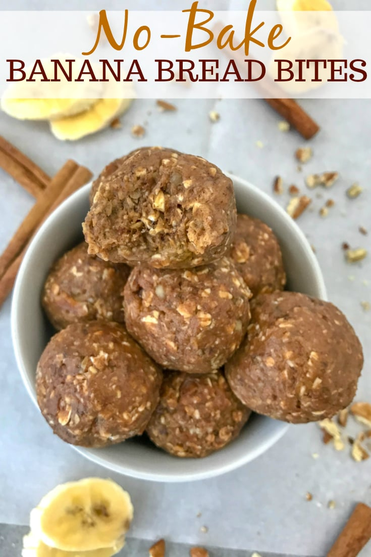 No Bake Banana Bread Bites With Peanut Butter On Top