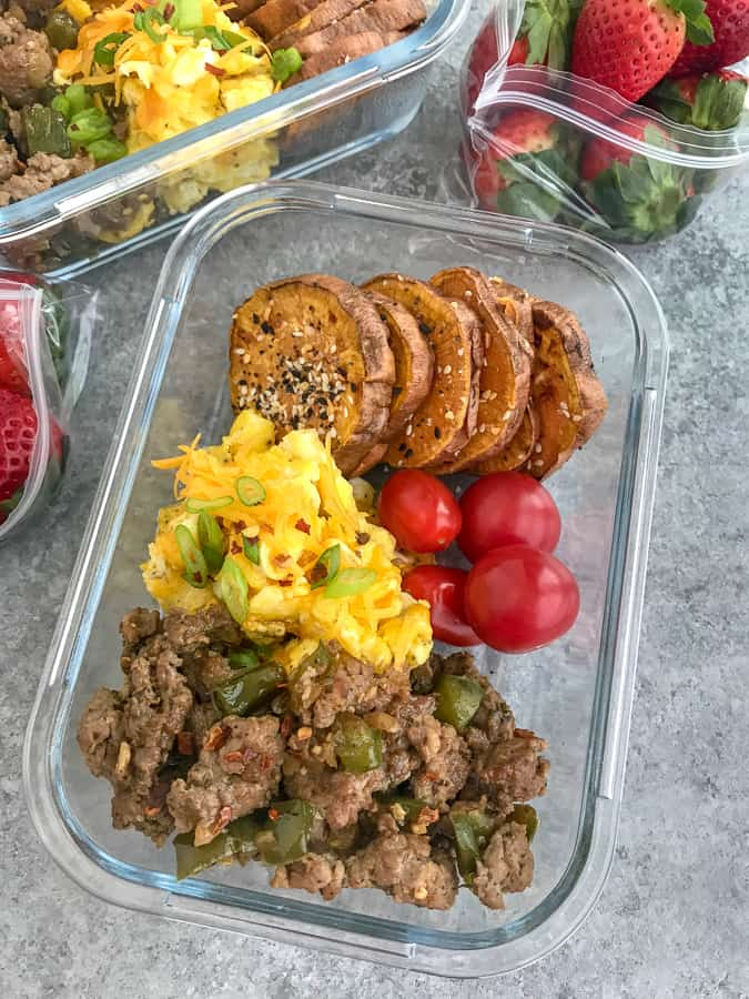 Sweet Potato Breakfast Meal Prep - a delicious, easy new meal to add to your weekly meal prep! Fluffy, cheesy eggs, ground turkey sausage and Everything Bagel sweet potato rounds. #mealprep #sweetpotatoes #breakfast #breakfastmealprep | https://withpeanutbutterontop.com