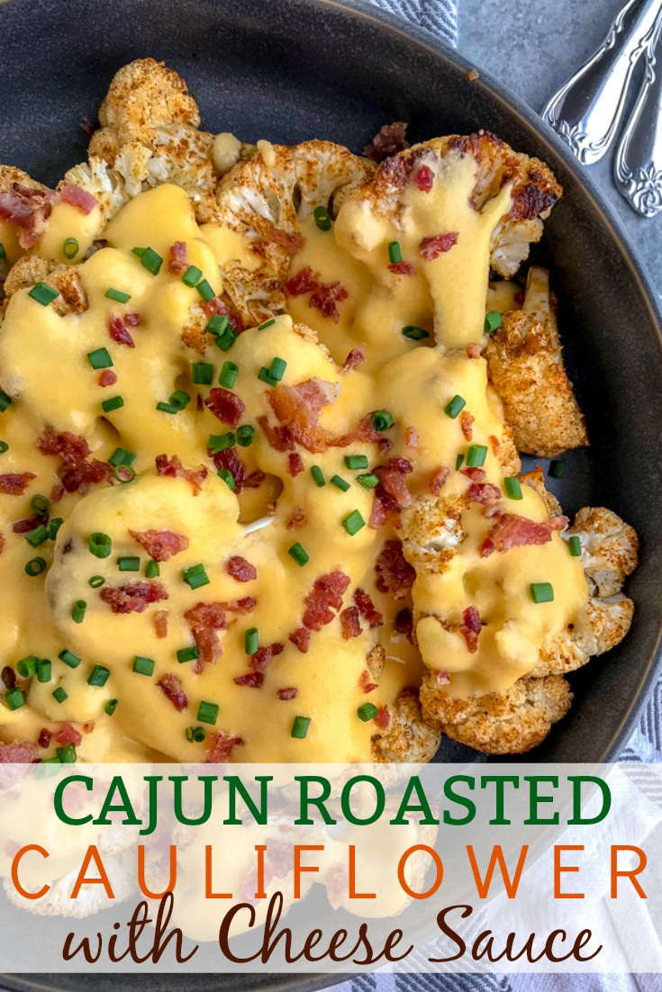 Fork tender cauliflower seasoned and roasted to perfection in a creamy cheddar cheese sauce. A lighter, healthier version of macaroni and cheese that is full of so much flavor - you'll forget about the pasta! #roastedcauliflower #cauliflower #cauliflowerandcheese #appetizer   https://withpeanutbutterontop.com