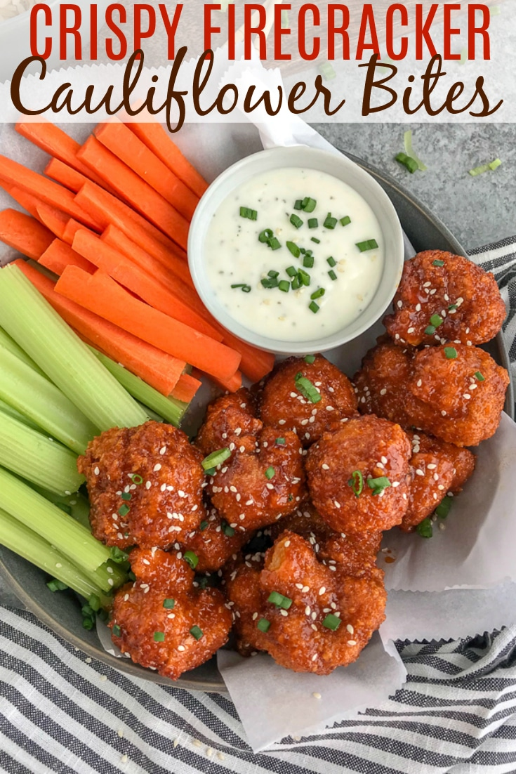 Cauliflower florets battered and baked until super crispy and then tossed in the an incredible sweet and spicy sauce. Sticky, crispy and so easy to make, you'll be throwing your takeout menus away! #firecracker #firecrackercauliflower #cauliflower #takeout   https://withpeanutbutterontop.com