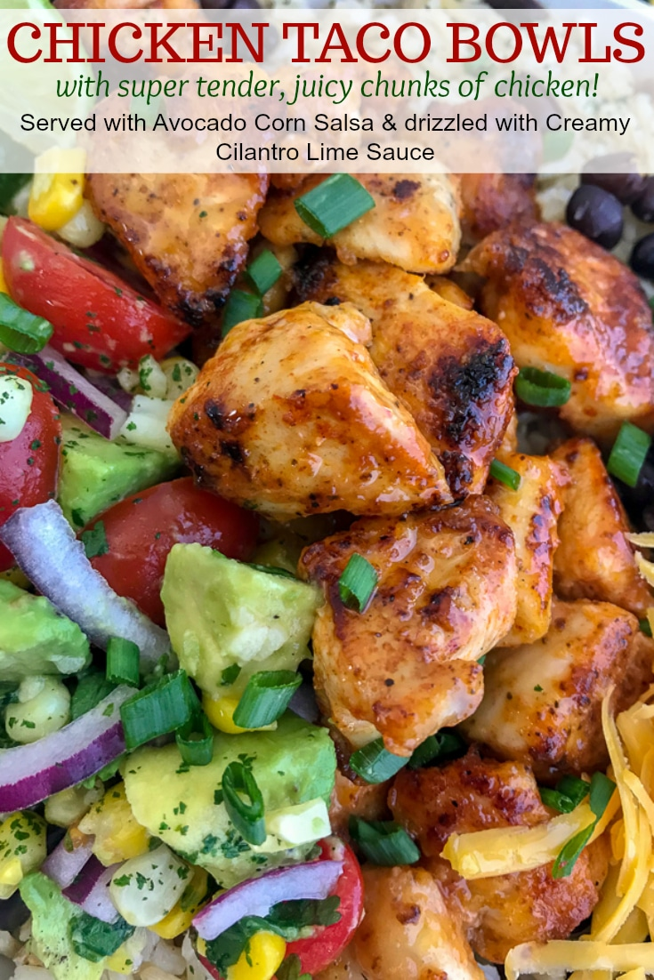 Tender, juicy chicken, Avocado Corn Salsa, and black beans served over brown rice and drizzled in Creamy Cilantro Lime Sauce. So much flavor you will forget that you're eating healthy! #tacotuesday #tacos #tacobowl #healthy | https://withpeanutbutterontop.com