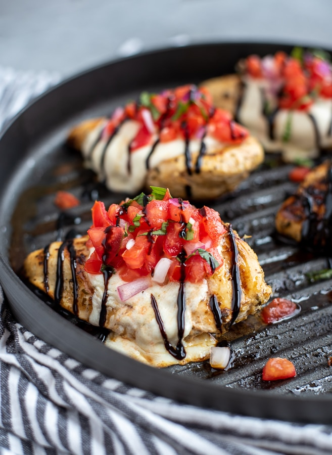 Grilled chicken topped with fresh tomatoes, basil and a tangy sweet balsamic glaze.