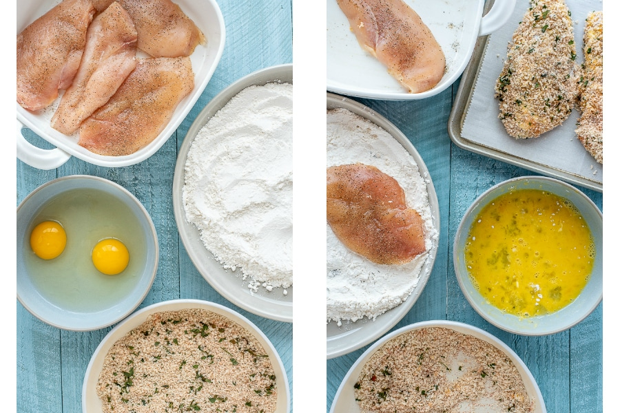 Collage of how-to coat chicken cutlets.