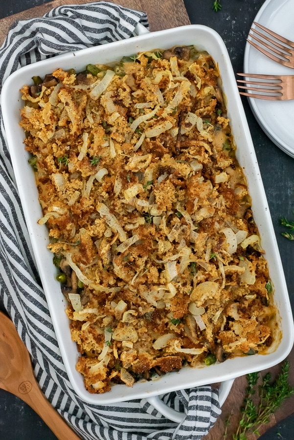 Baking dish filled with creamy green bean casserole.