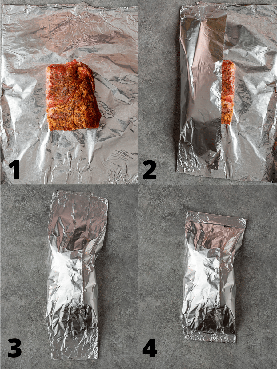Collage of steps on how to foil wrap barbecue ribs.