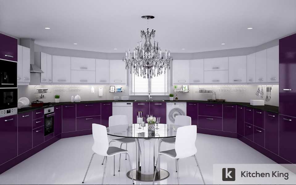 PURPLE AND WHITE KITCHEN