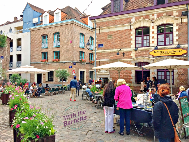 Lille back street with shops and cafe