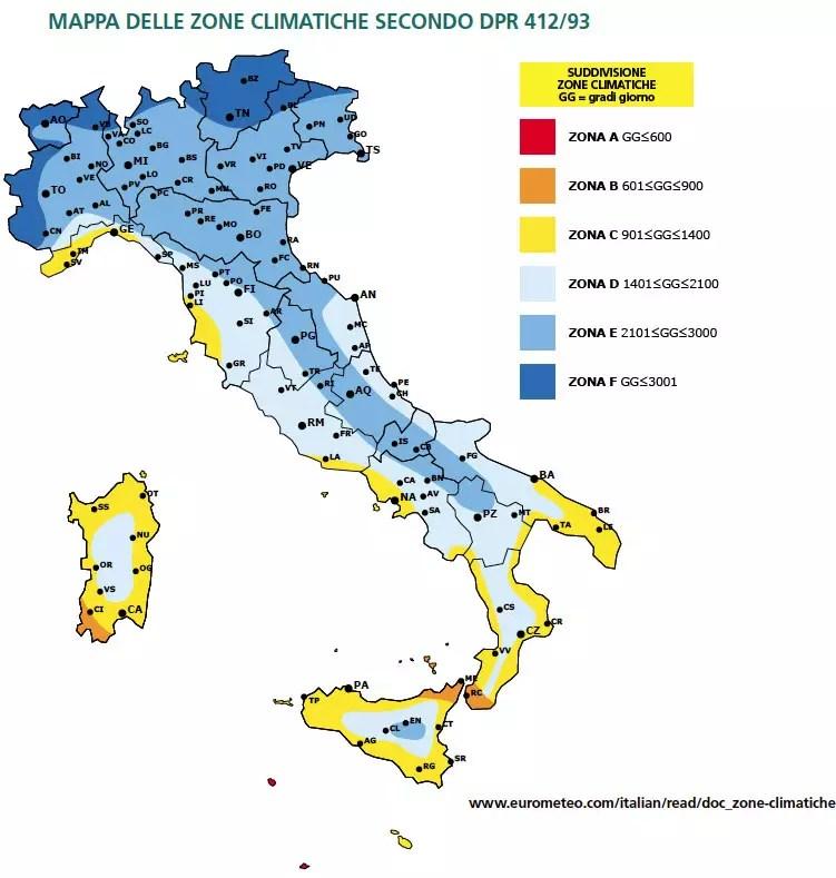 Trasmittanza termica Italia zone climatiche