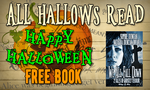 All Hallows Read, Happy Halloween! Free Book, over a pumpkin and lost of writing.