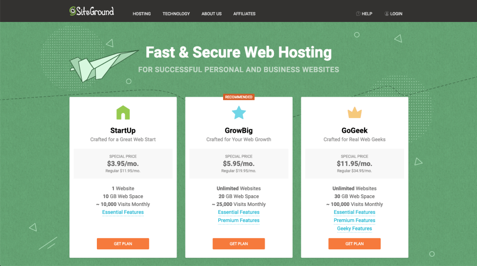 2nd step to set up hosting with SiteGround