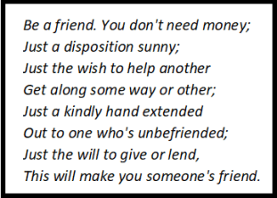 Be A Friend Stanza Wise Summary
