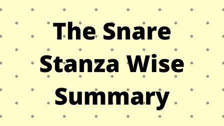 The Snare Stanza Wise Summary