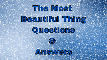 The Most Beautiful Thing Questions & Answers