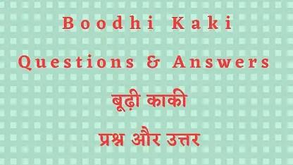 Boodhi Kaki Questions & Answers बूढ़ी काकी प्रश्न और उत्तर