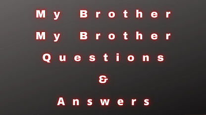 My Brother My Brother Questions & Answers