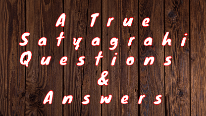 A True Satyagrahi Questions & Answers