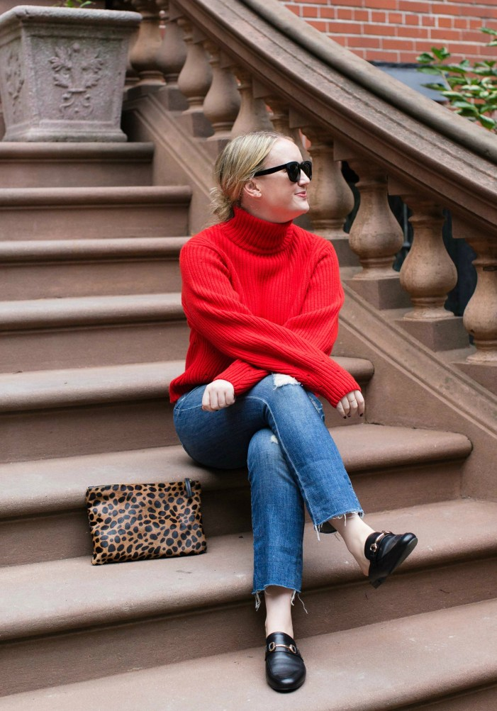 Red Sweater + Kickflare Denim