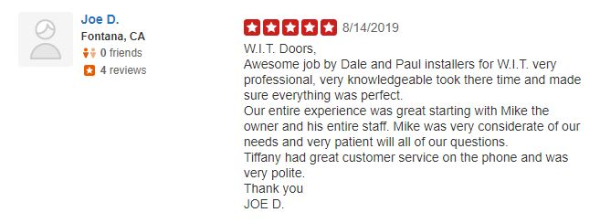 YELP REVIEW WIT WINDOWS AND DOORS REDLANDS CALIFORNIA