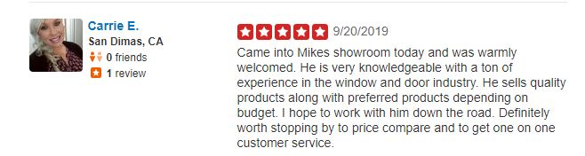 YELP REVIEW - WIT WINDOWS AND DOORS 9-20-19