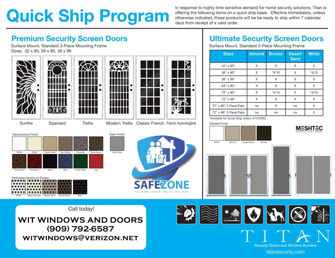 TITAN SECURITY SCREEN DOOR QUICK SHIP PROGRAM