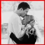 husband wife kissing