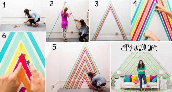 DIY wall art using colored tape