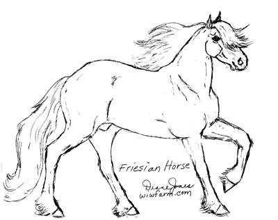 friesian colouring pages