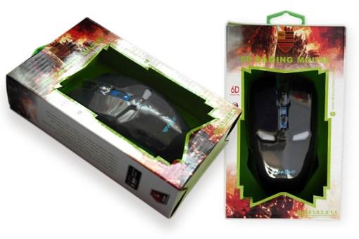 ratón USB óptico, especial para gamers ya que es muy sensible, además tiene forma de robot, encienden luz LEDS
