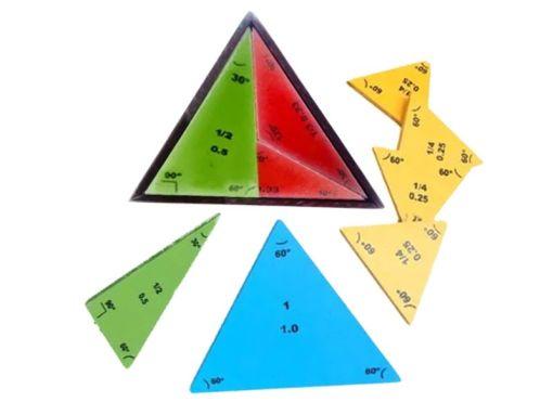 representan de manera gráfica y física las fracciones desde el entero hasta el cuarto
