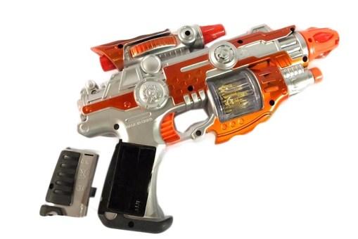 Pistola metralleta espacial de luz y sonido- juguetes divertidos