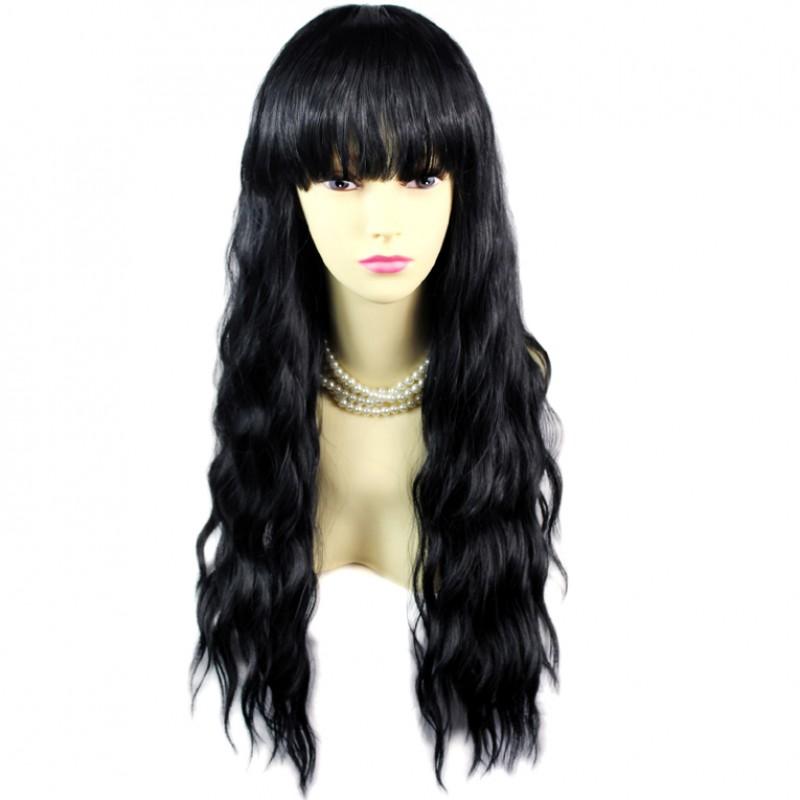 Wiwigs Super Model Curly Wavy Jet Black Long Ladies Wigs