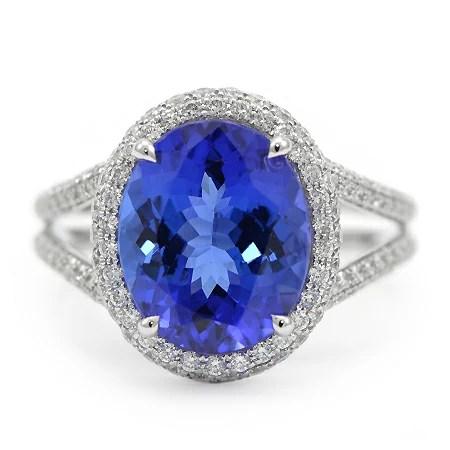 EmeraldCut Tanzanite Ring with Diamond Halo  Wixon Jewelers
