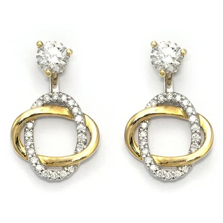 Diamond Stud Earring Jackets Yellow Gold Swirl Wixon