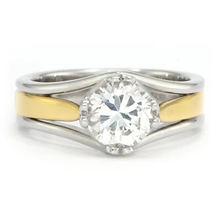 Two Tone Yellow Gold Engagement Ring Wixon Jewelers