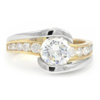 White & Yellow Gold Two-Diamond Engagement Ring | Wixon ...