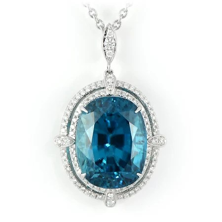 Oval Blue Zircon Pendant With Diamond Halo Wixon Jewelers