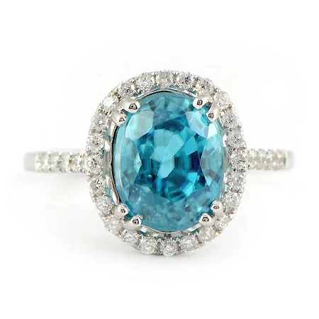 Blue Zircon Ring with Diamond Halo in White Gold  Wixoncom